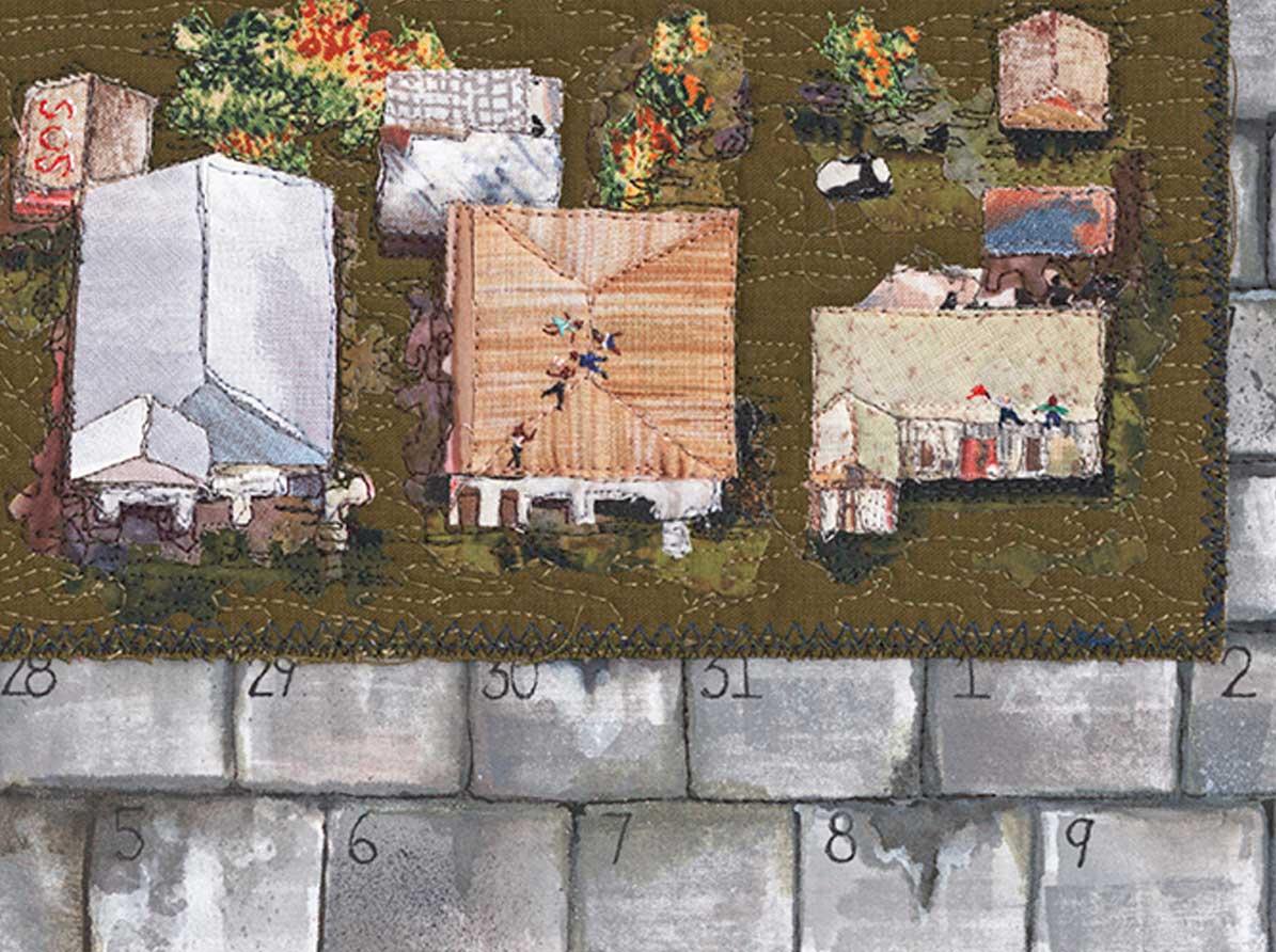 """""""Flood"""" - embroidered people on roof"""