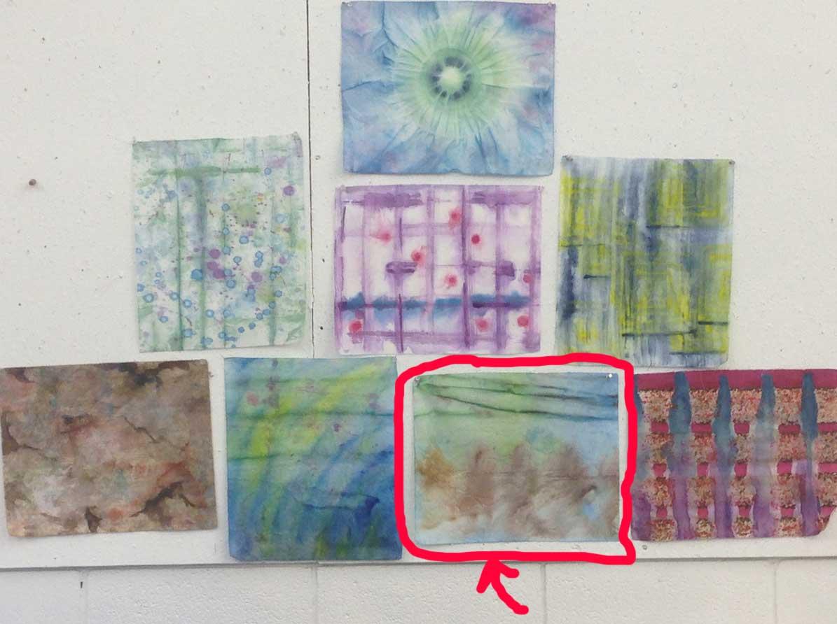 random painted fabrics, notice the horizontal stripe on the one circled