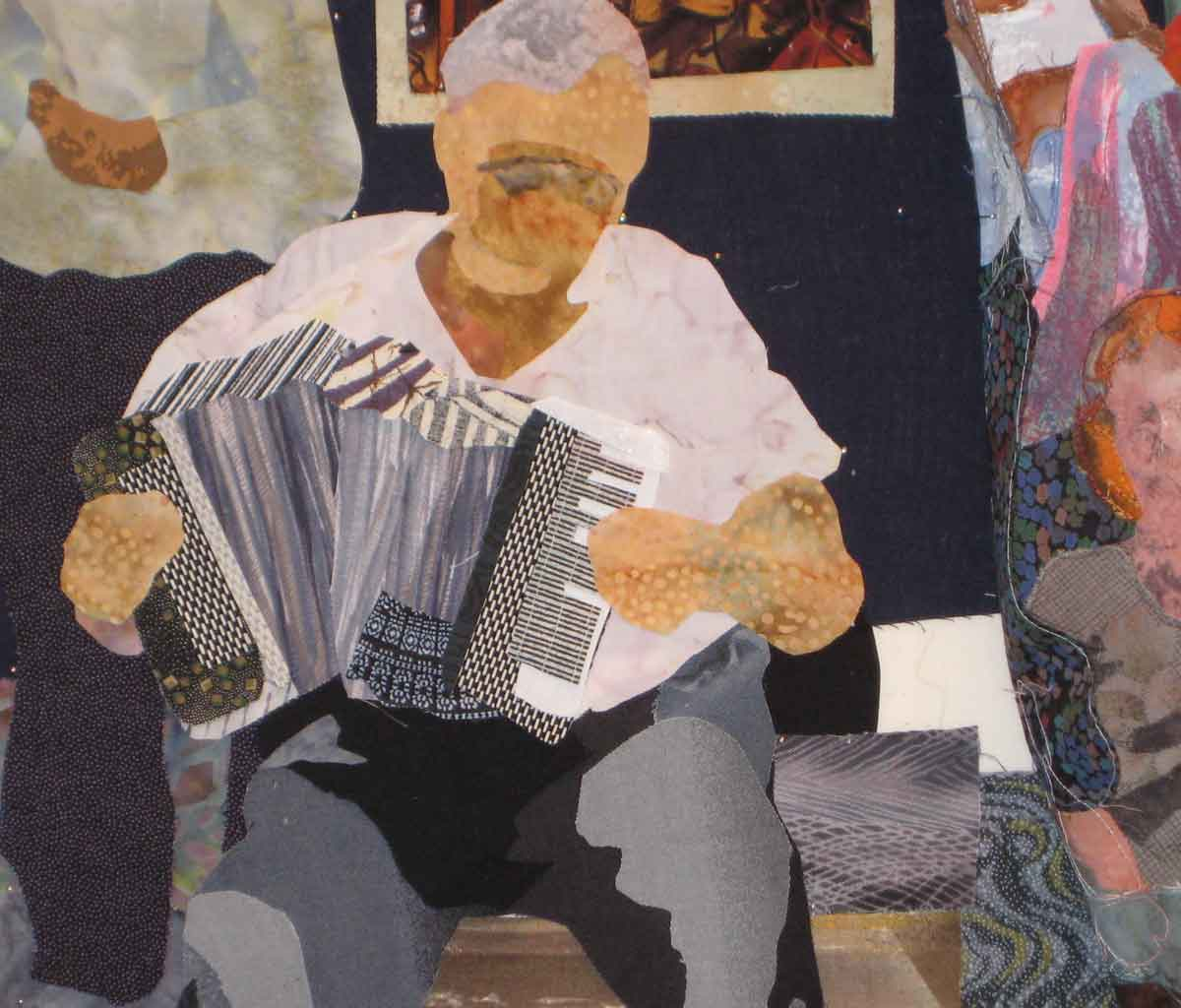 fabric collage of the accordionist