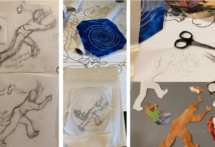 images of fabric collage process
