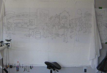art studio design wall showing work in progress