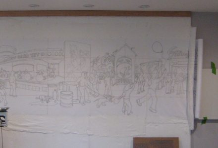 quilt studio design wall with drawing traced onto fabric