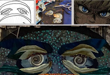 fabric collage eyes