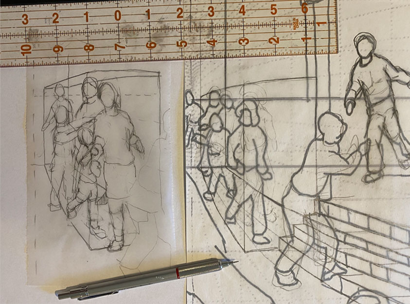 refining drawing for an art quilt