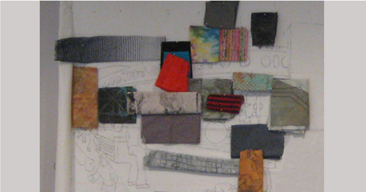 blocking in color of an art quilt