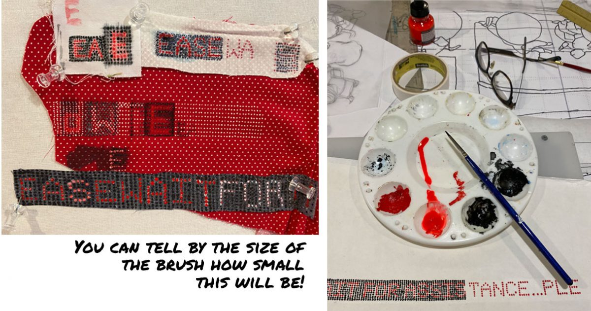 photo showing trials in painting a digital sign on fabric