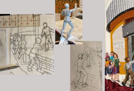 mannequin, drawing and fabric collage