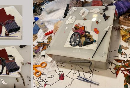photo showing fabric collage in process