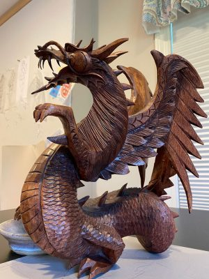 Carved wood dragon from Thailand