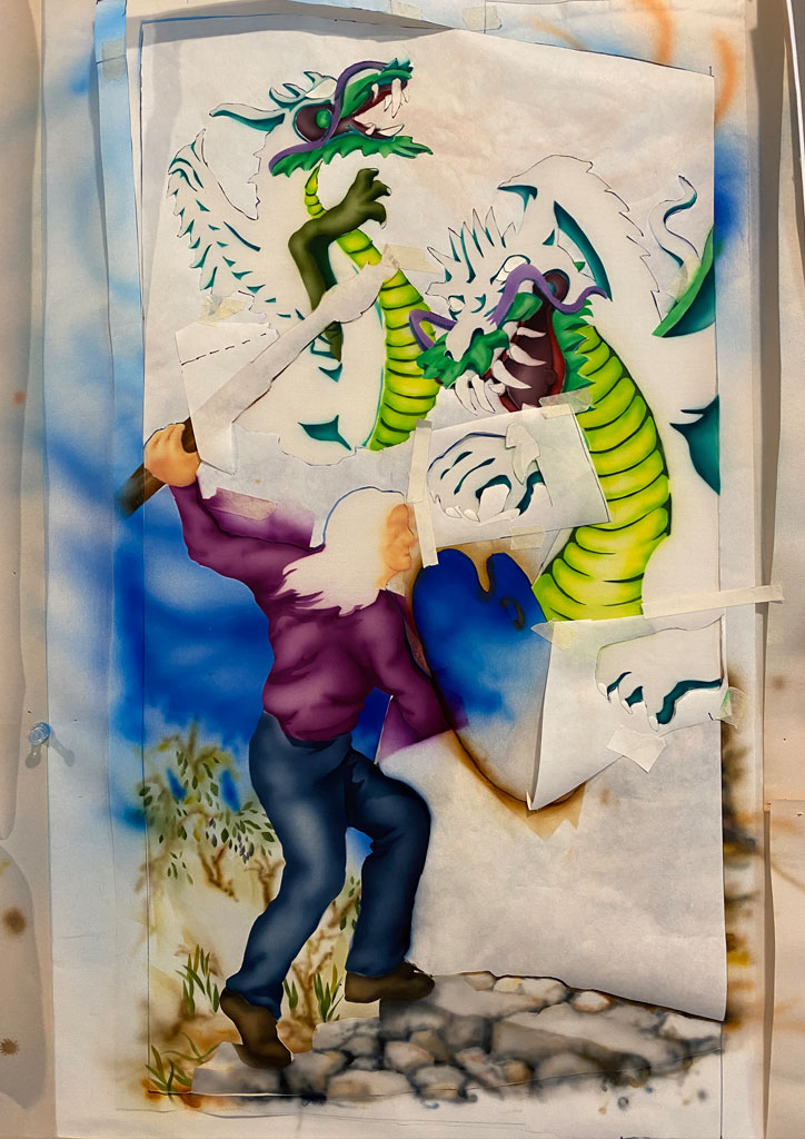 photo of air-brushed painting in process