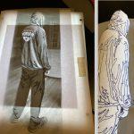 Comparison of fabric collage template to original photo
