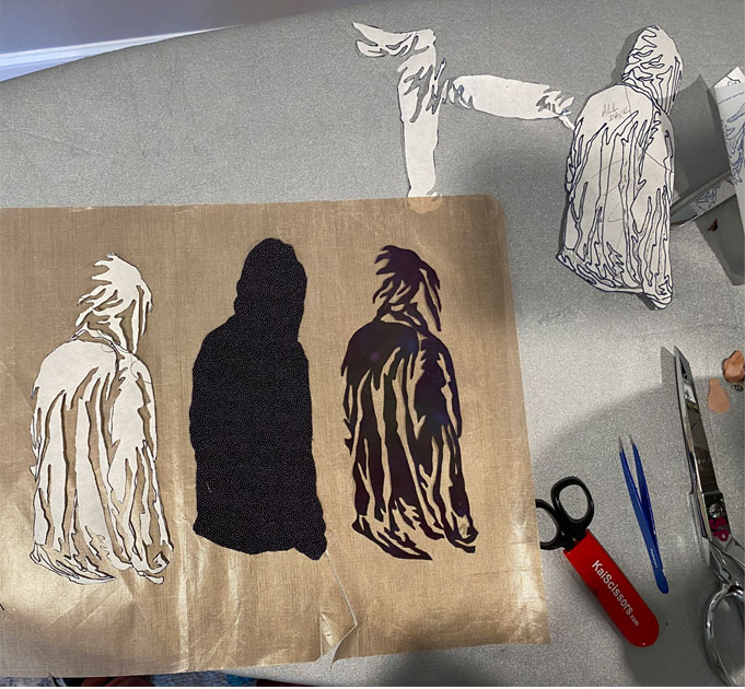 photo showing templates and cut fabric