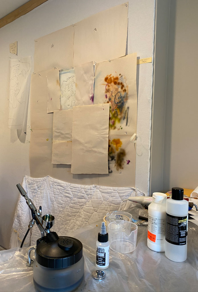 photo of studio set up for air-brushing