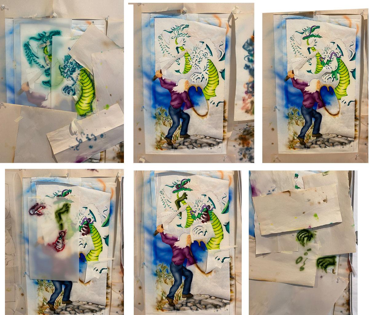 six views of air-brush work in progress