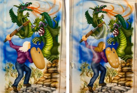 two views of air-brush painting in progress