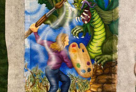 painting of art quilt in progress