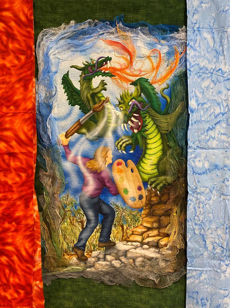 comparison of background colors for art quilt