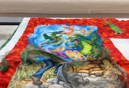 art quilt on longarm machine