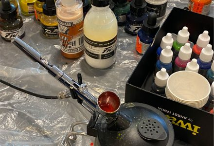 photo of air-brush and paints