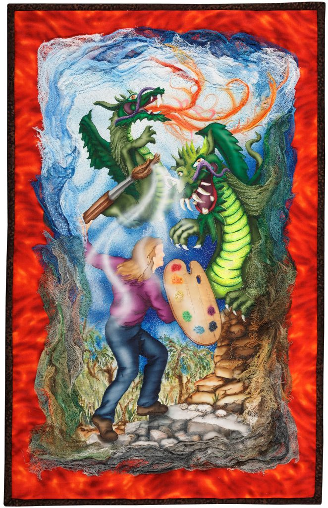 """""""Skirmish On Insecurity Hill"""" art quilt"""