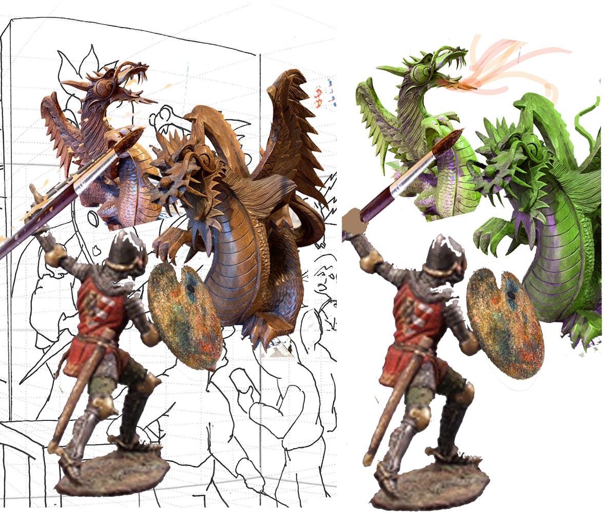 photoshopped dragon and knight image