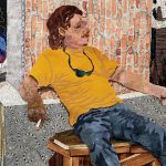 fabric collage of seated man