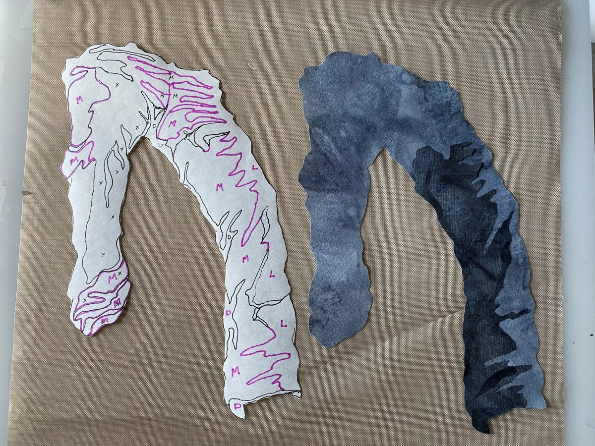 fabric collage of pants